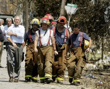 Bush Uses Firemen As Props