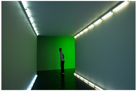 Marty in the Dan Flavin Tunnel