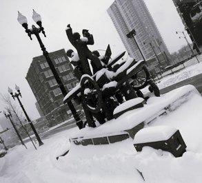 Haymarket Riot Memorial in the snow