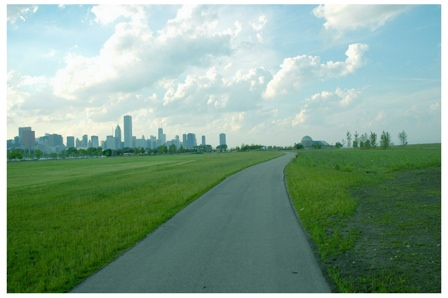 Northerly Island, view of Chicago skyline
