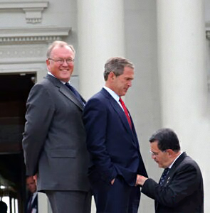 Bush and two friends, in a threesome