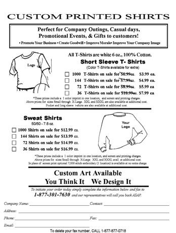Junk Fax Custom Printed