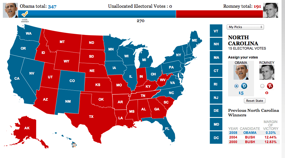 2012 electoral college projection map